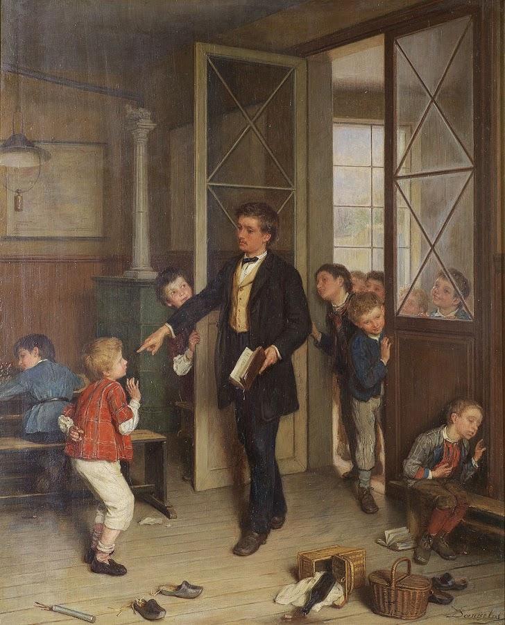 André Henri Dargelas Frankrike 1828-1906. Cést toi qui la fait - interiör med skollärare