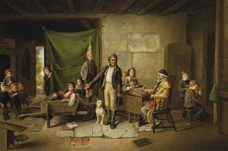 Charles Hunt (British, 1803-1877) The Unruly Classroom or Breaking the Rules (Непослушные в классе или Нарушение правил). 1883 г.