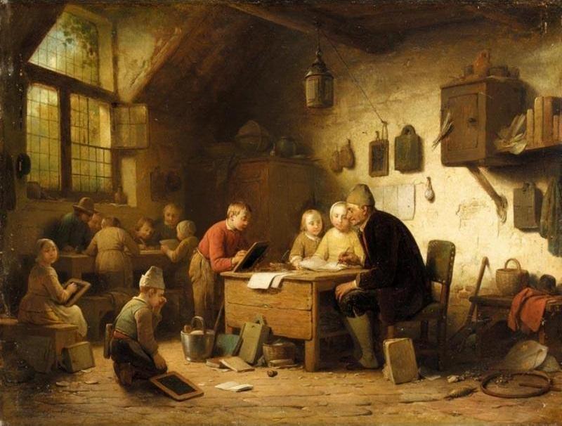 Ferdinand I de Braekeleer (Belgian, 1792 - 1883) The Classroom. 1862 г.
