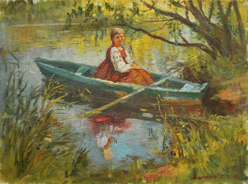 Дівчина в човні (Девушка в лодке). х.м. 30х40._20111102130107