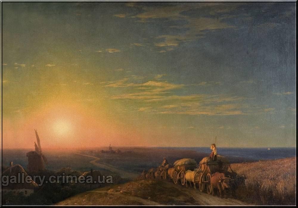 Чумацька валка при заході сонця