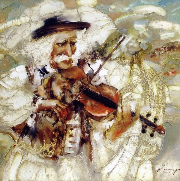 Сергій Іванов Гуцул, що грає на скрипці