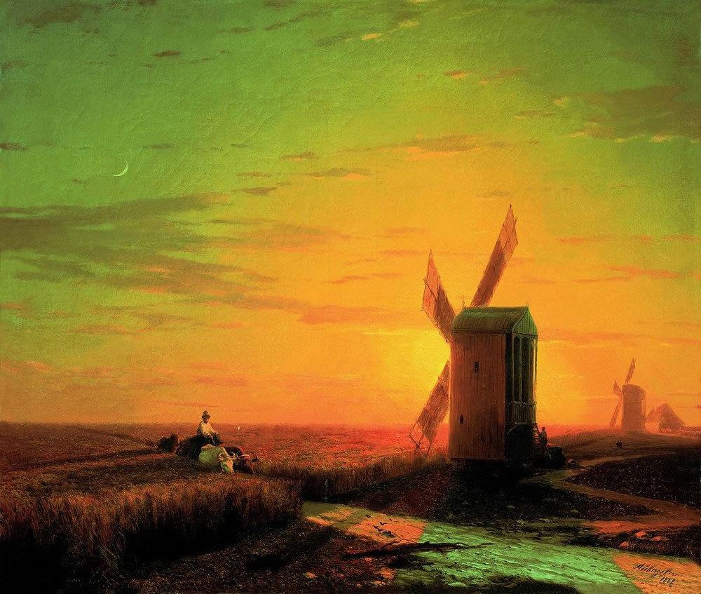 Ветряные мельницы в украинской степи при закате солнца. 1862.