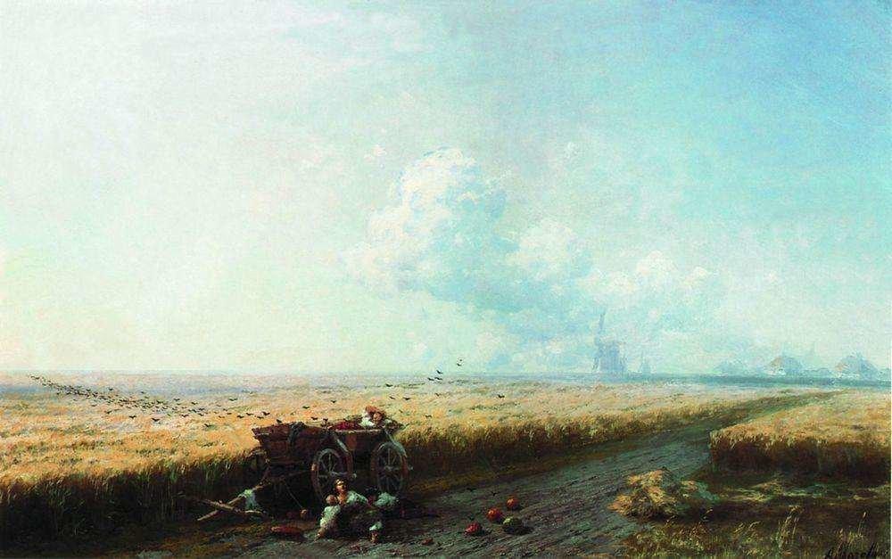 Во время жатвы на Украине. 1883