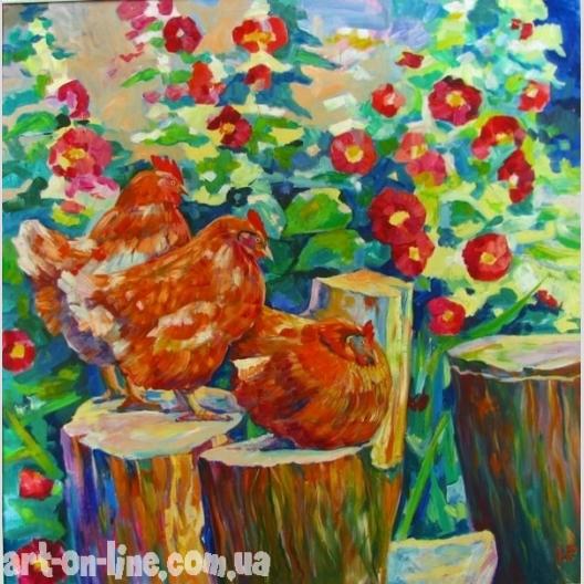 Курицы в мальвах