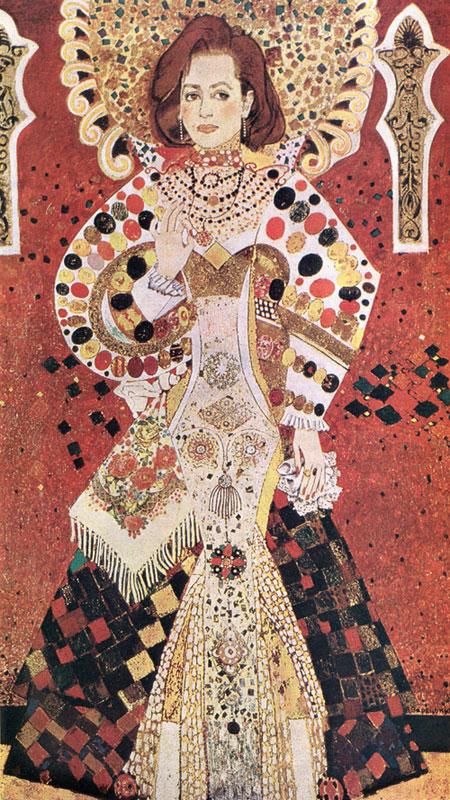 Портрет народної артистки УРСР Т. Цимбал. Олія, мішана техніка, 1987.