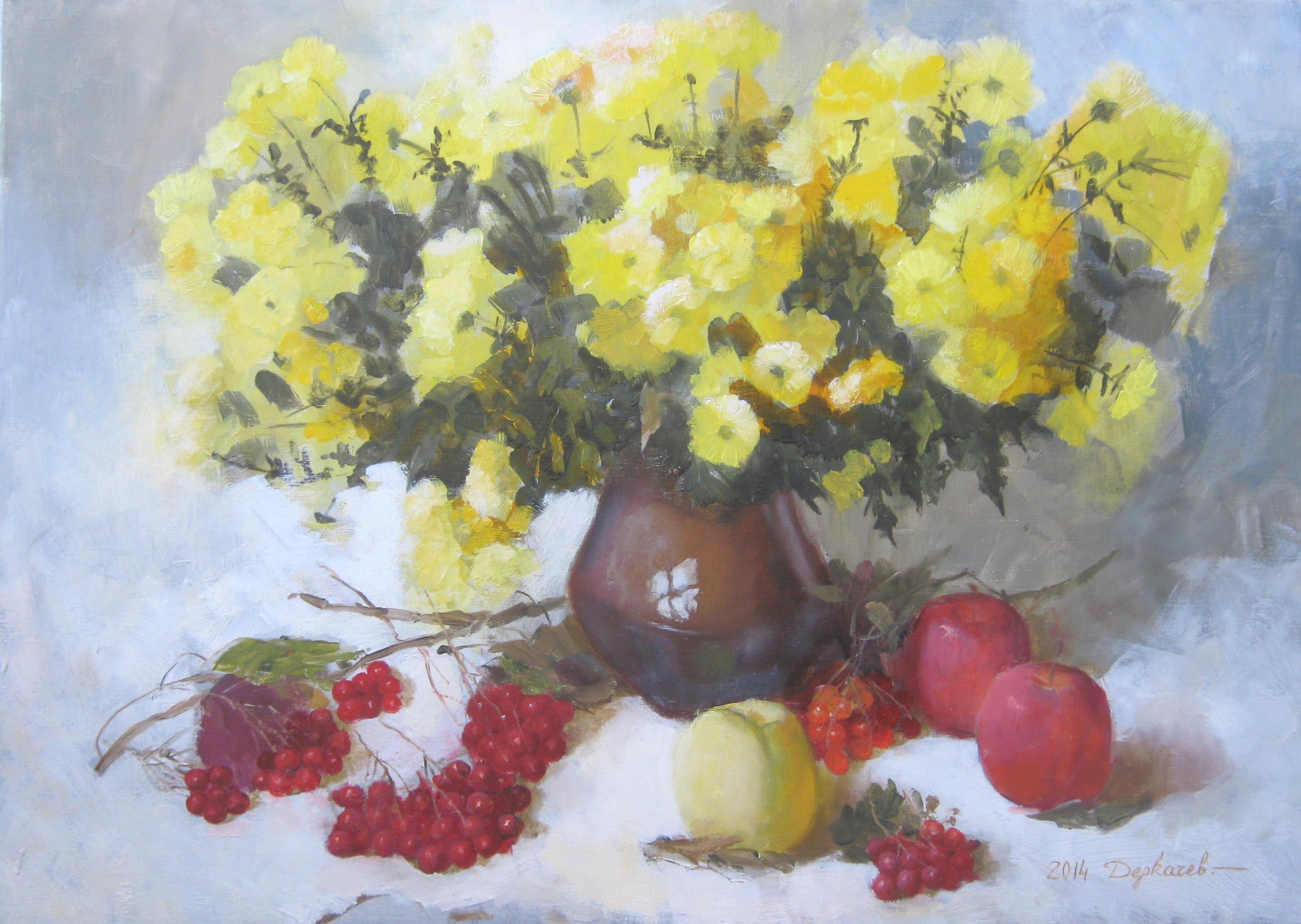 Желтые хризантемы, калина, яблоки