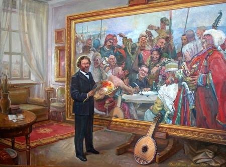 Рєпін І.Ю. пише картину Запорожці