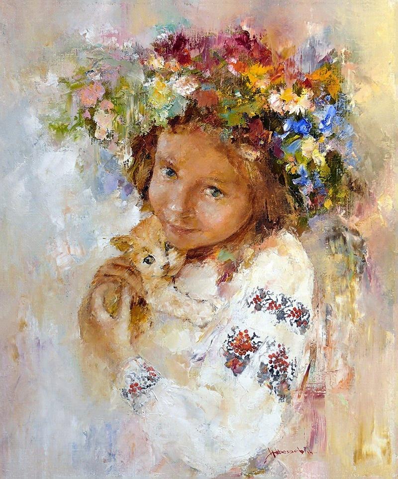украиночка и котенок