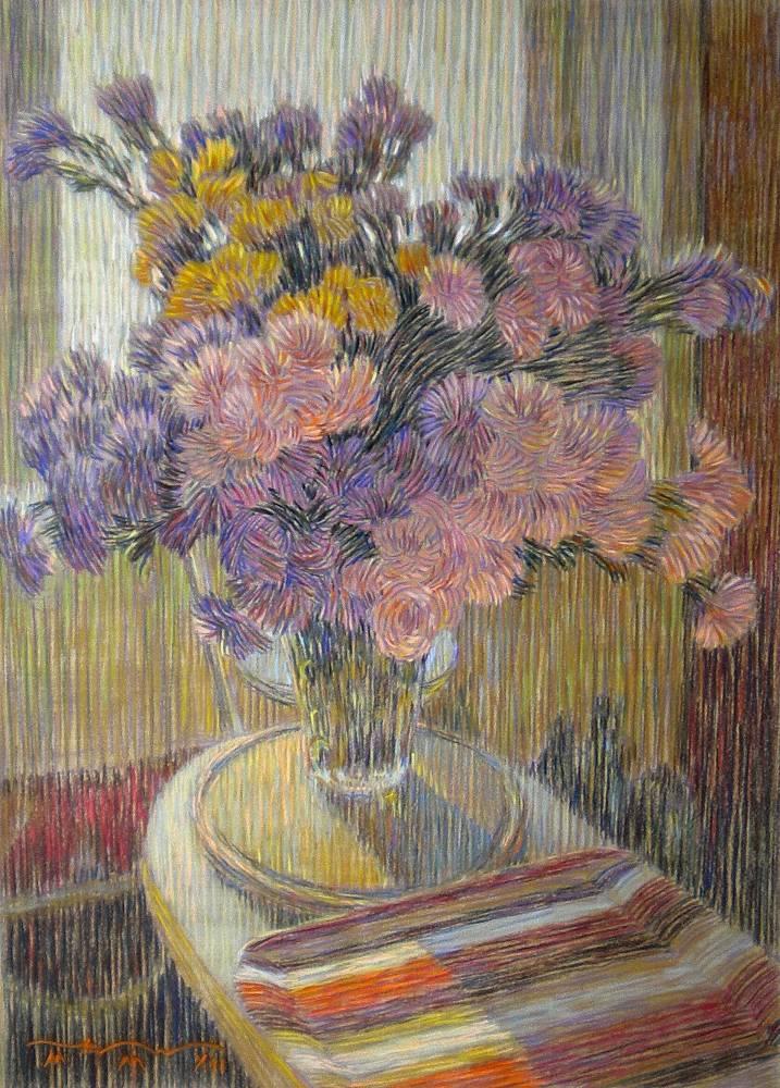 Натюрморт с хризантемами