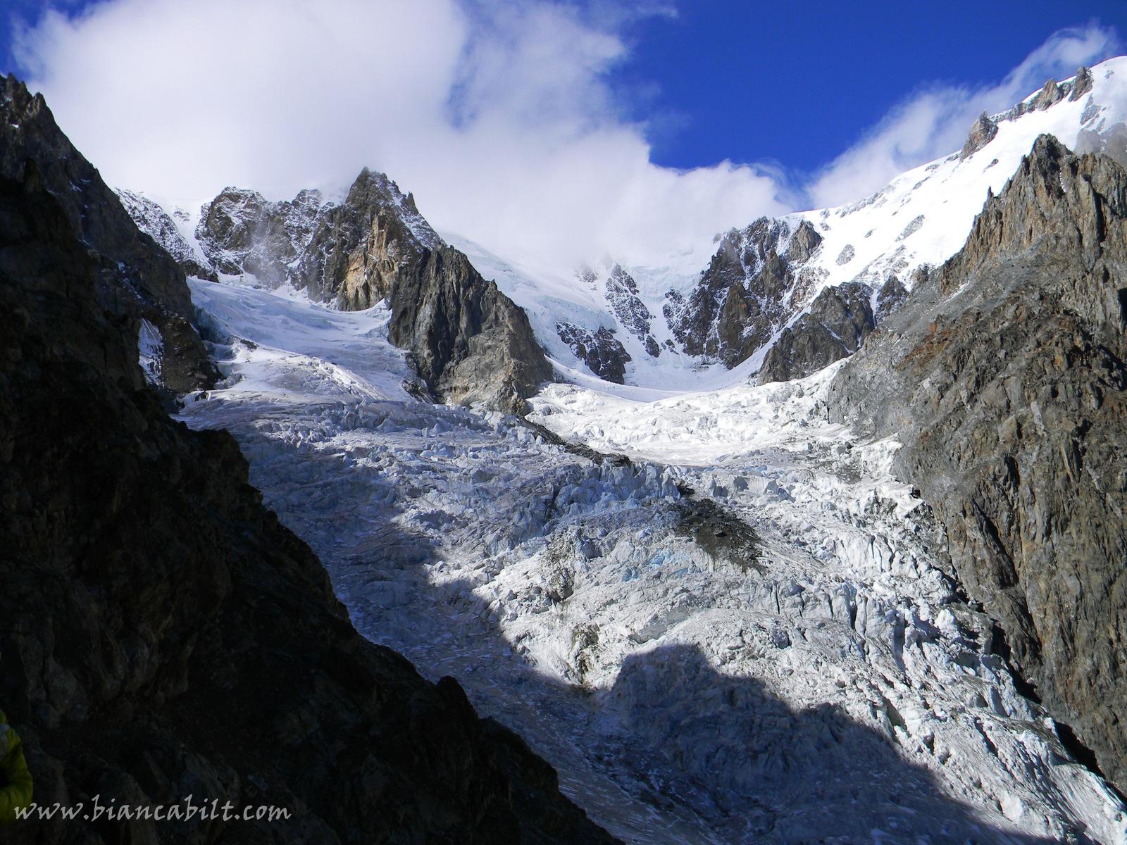 Glacier du Dome, pe acolo am urcat în creastă.