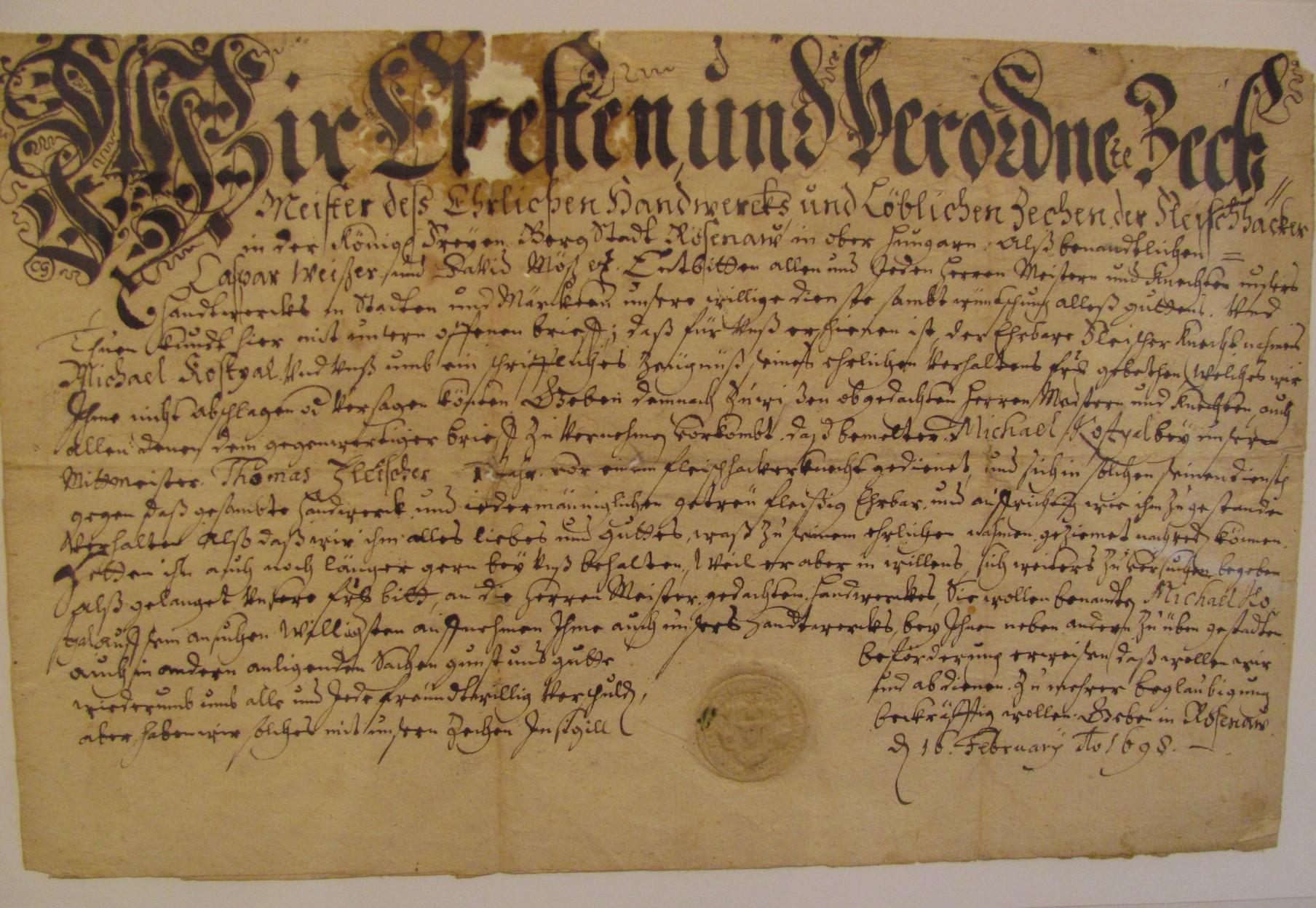 A mészáros céh által kiadott segédlevél, 1698. Fotó S. Holečková