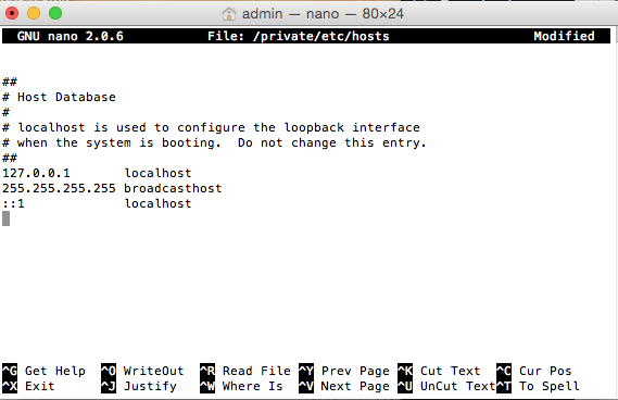 Host Database sul Mac - yosemite