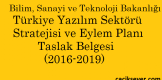 Bilim, Sanayi ve Teknoloji Bakanlığı Türkiye Yazılım Sektörü Stratejisi ve Eylem Planı Taslak Belgesi (2016-2019)