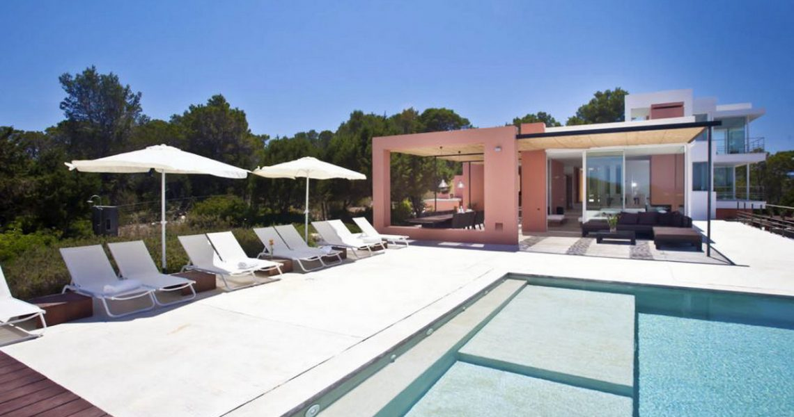Sea view villa in Ibiza, minimalistic style, privileged location