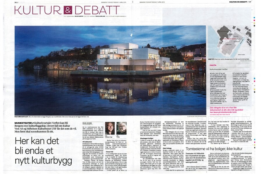 Bergen new cultural flagship within the cultural quarter. Bergens Tidende is featuring our study for the new Musikkteater