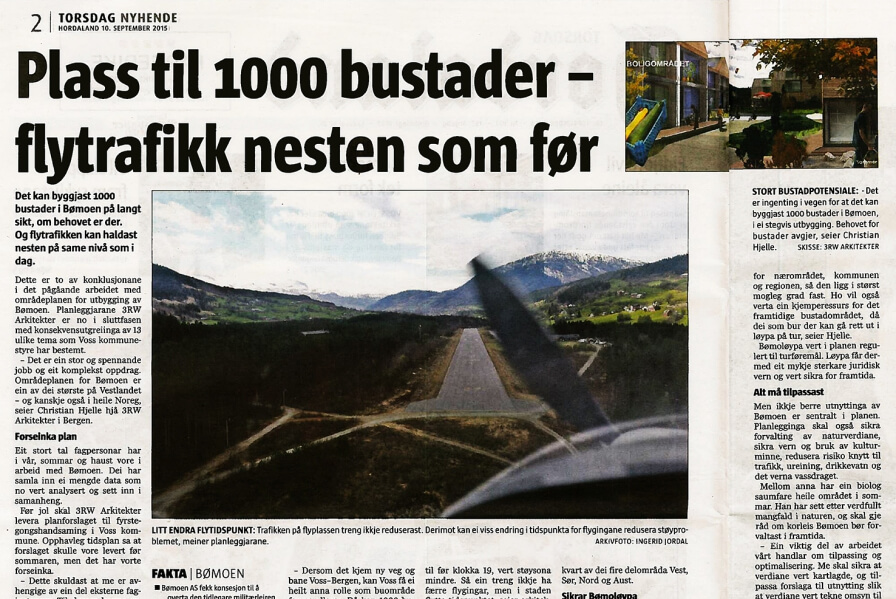 The local newspaper Avisa Hordaland present status of planning work on Bømoen.