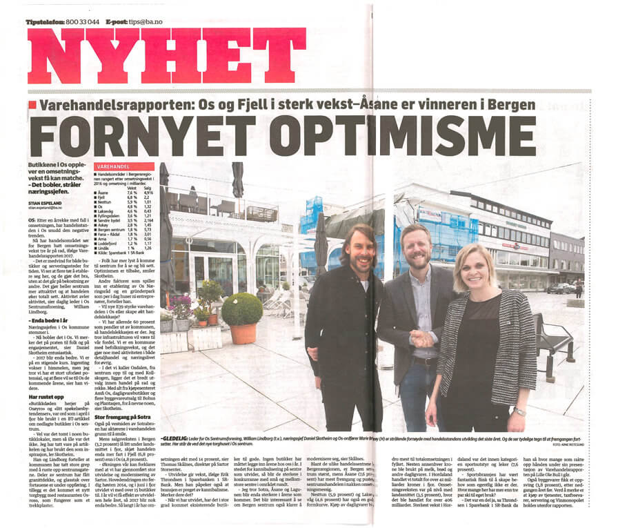 Our project in collaboration with Smedsvig Landskapsarkitekter is on the front page of today's BA newspaper