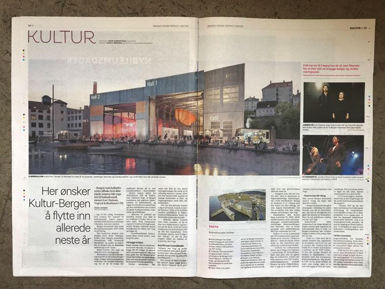 Presentert i dagens Bergens Tidende – vårt forslag til adaptiv gjenbruk av Kjødehallen