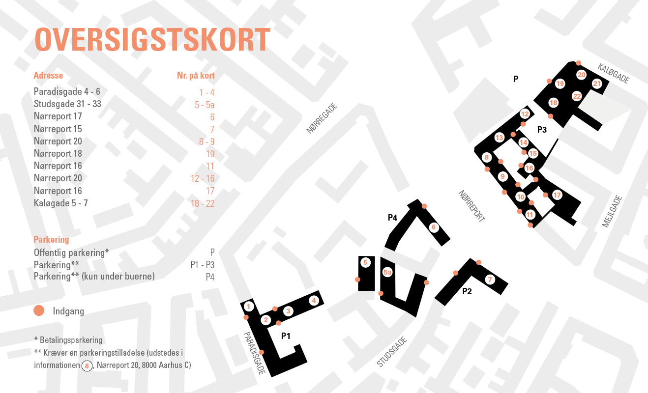 Oversigtskort Arkitektskolen Aarhus