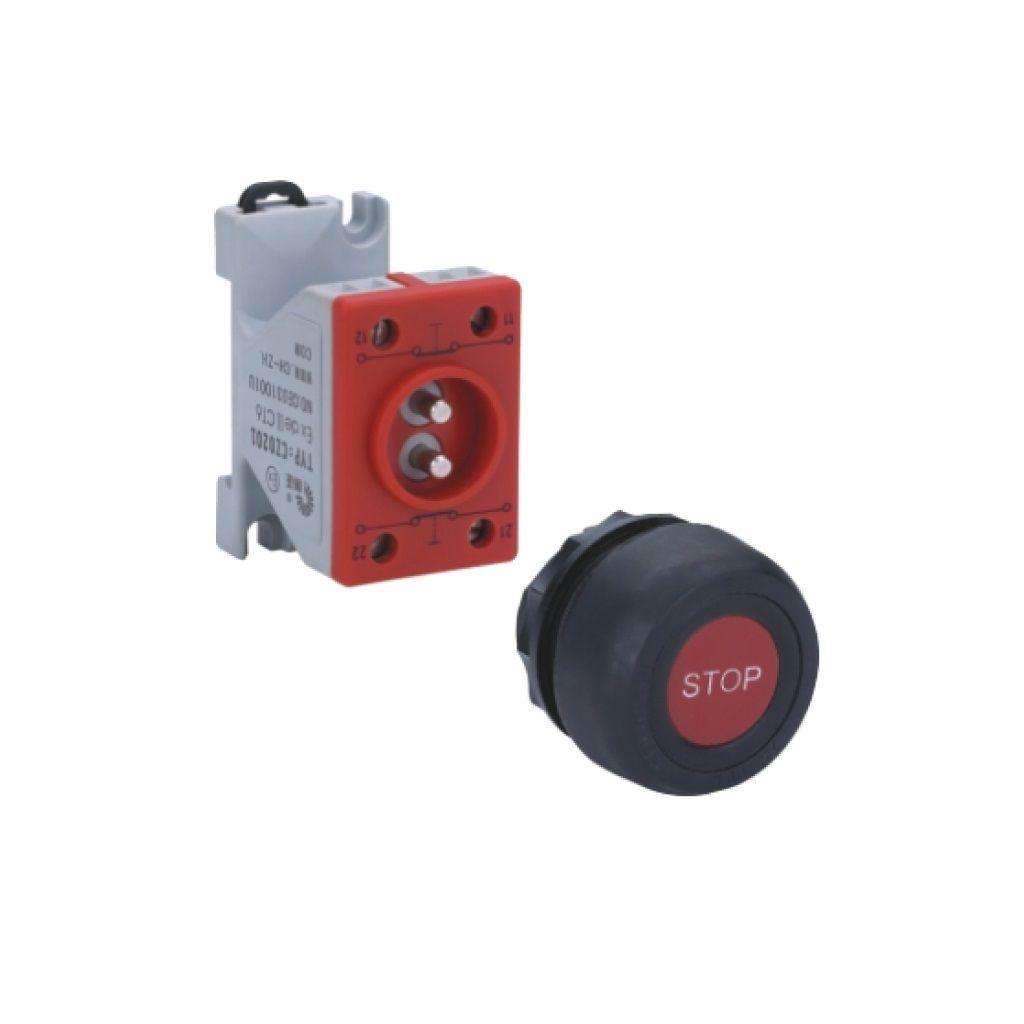 Kurulu ön montaj rayı tipi exproof buton bileşeni (kauçuk kaplama buton)