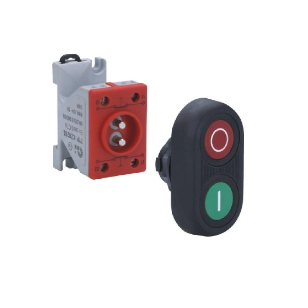 Kurulu ön montaj rayı tipi exproof buton bileşeni (kauçuk kaplama ikili buton)