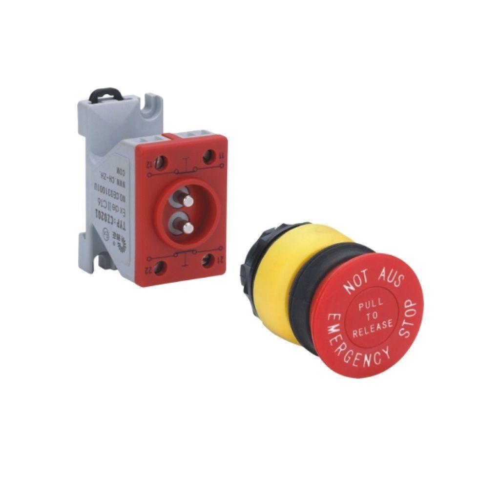 Kurulu ön montaj rayı tipi exproof buton bileşeni (Acil durum bas-kilitle buton)