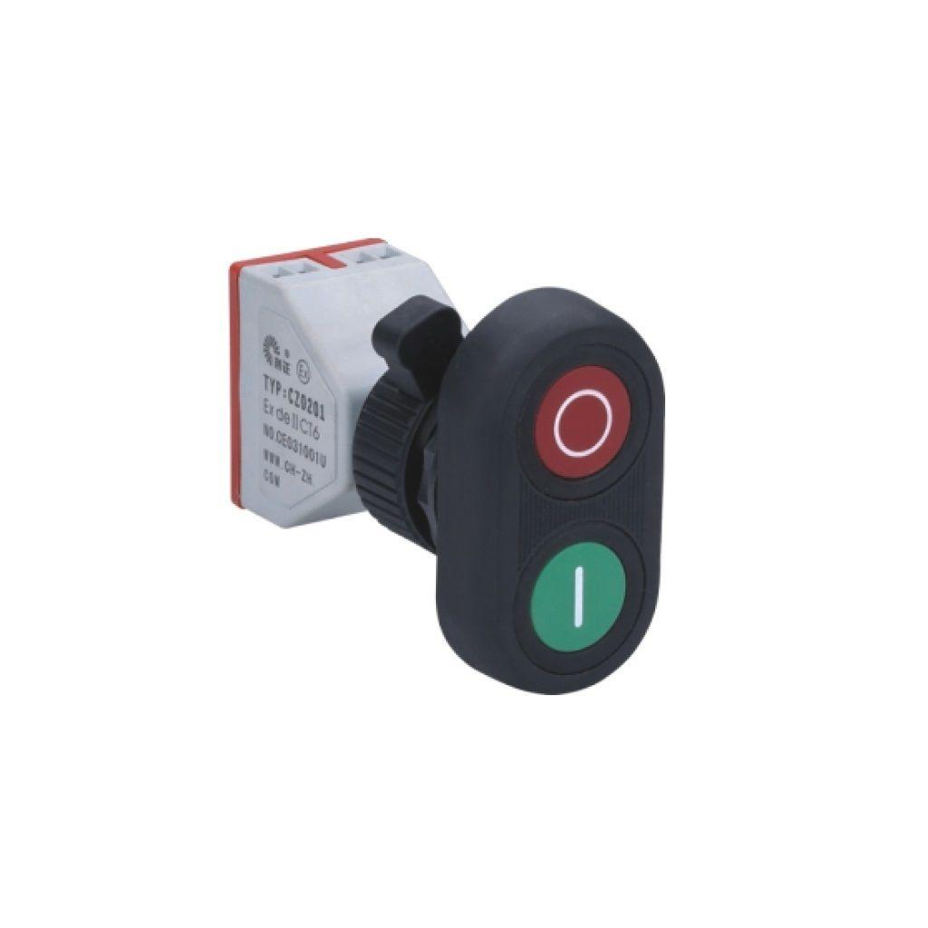 Kurulu arka tip exproof buton bileşeni (kauçuk kaplama ikili buton)