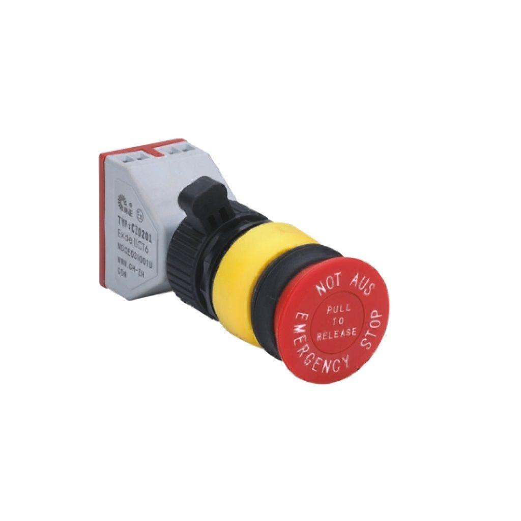 Kurulu arka tip exproof buton bileşeni (Acil durum bas-kilitle buton)