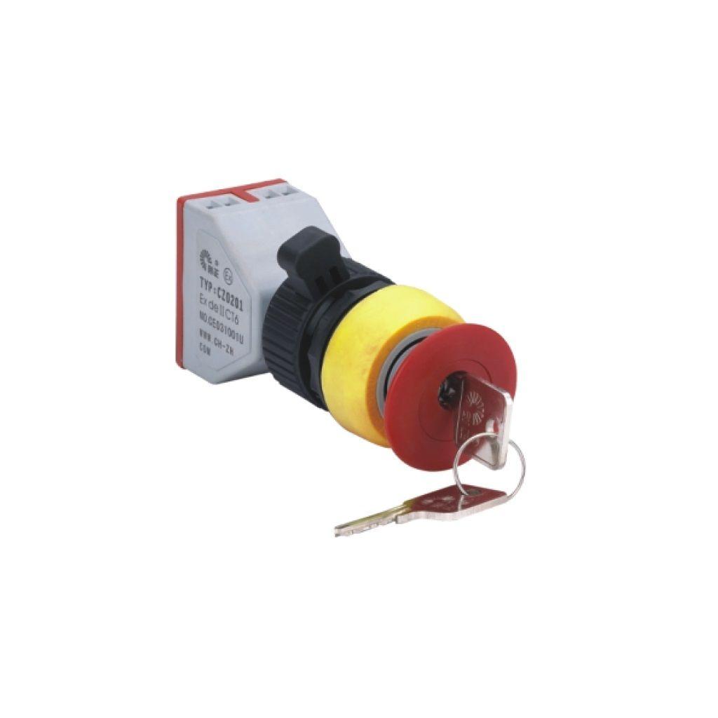 Kurulu arka tip exproof buton bileşeni (Anahtarlı kırmızı mantar buton)