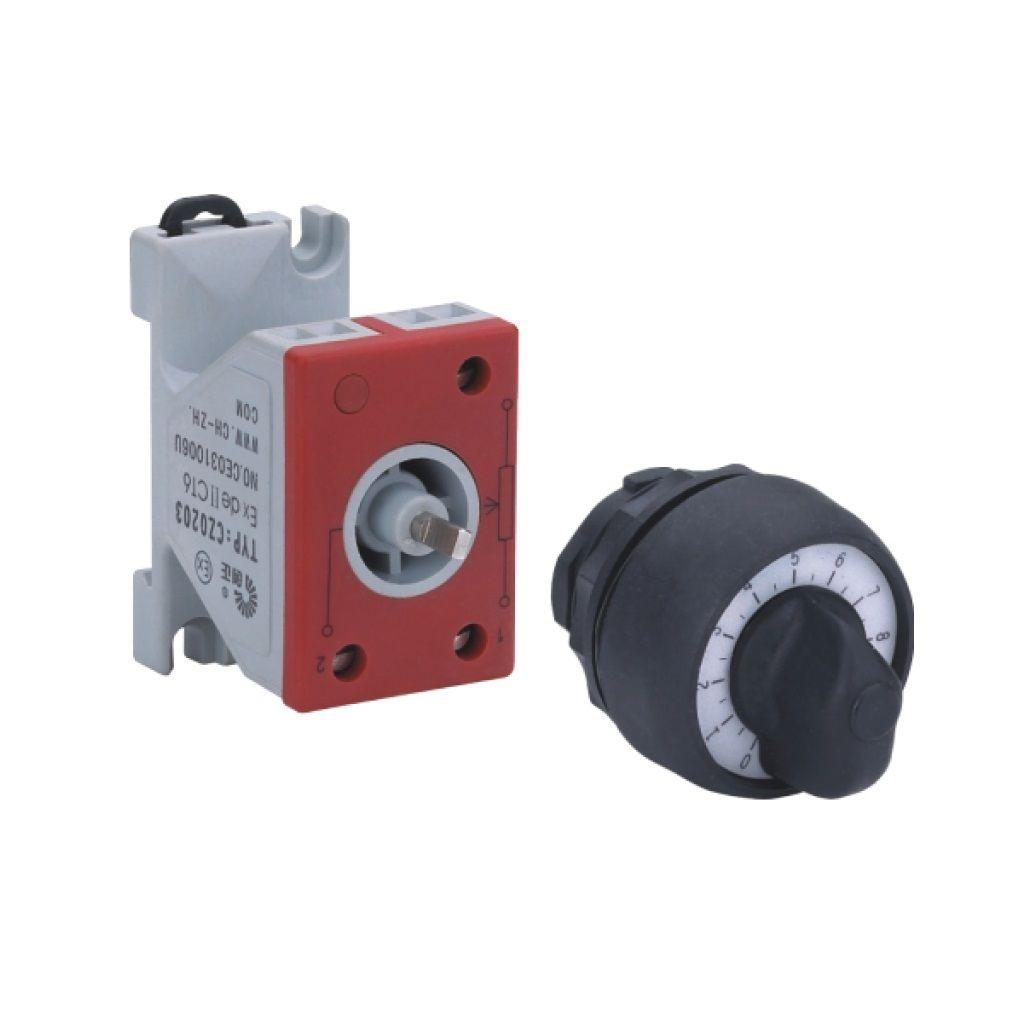 Kurulu ön montaj rayı tipi exproof potansiyometre bileşeni