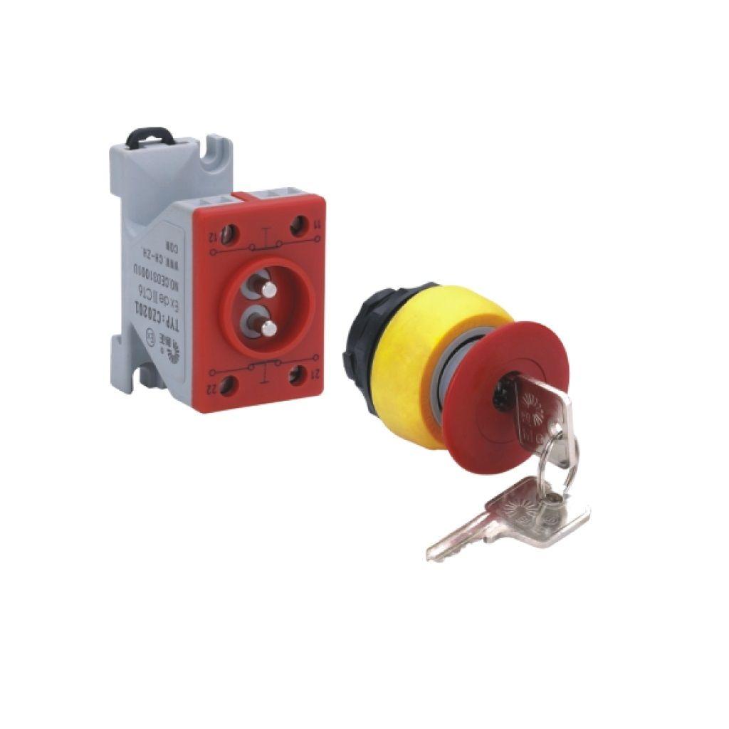 Kurulu ön montaj rayı tipi exproof buton bileşeni (Anahtarlı kırmızı mantar buton)