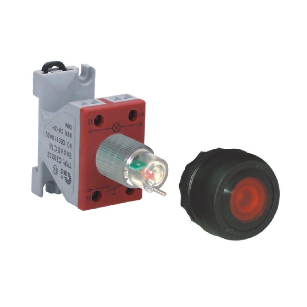 Kurulu ön montaj rayı tipi exproof butonlu sinyal lambası bileşeni