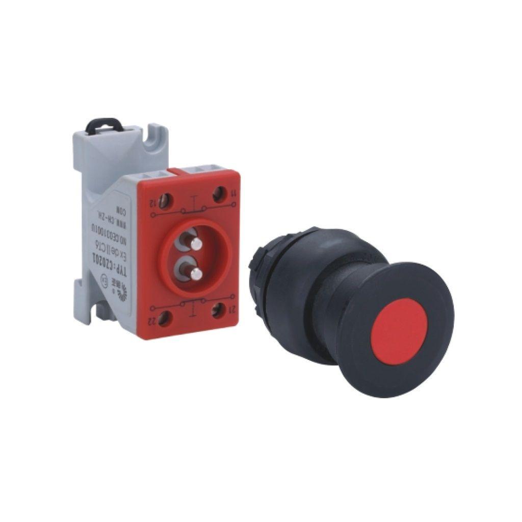 Kurulu ön montaj rayı tipi exproof buton bileşeni (Siyah mantar buton)