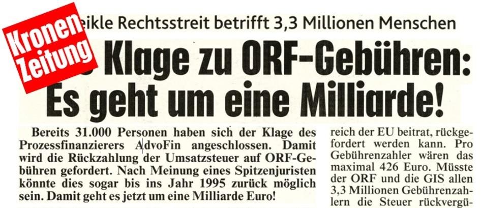 Update zur Sammelklage ORF/GIS-Umsatzsteuerrückforderung: Neue Klage beim Handelsgericht Wien eingebracht – Rückforderung bis 1995!