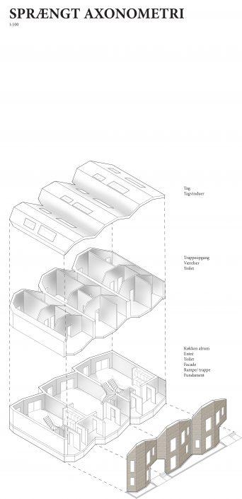 Axonometri af den bølgende facade og rummene