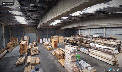 Visite virtuelle intérieure d'un entrepôt