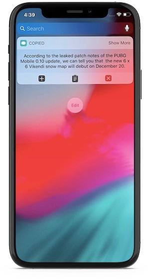 Виджет для iOS Copied Touch