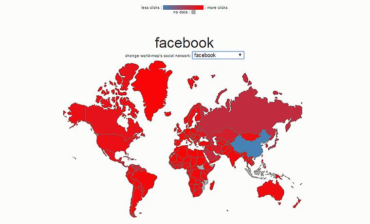 География распространения Facebook по данным Bitly Science Team.