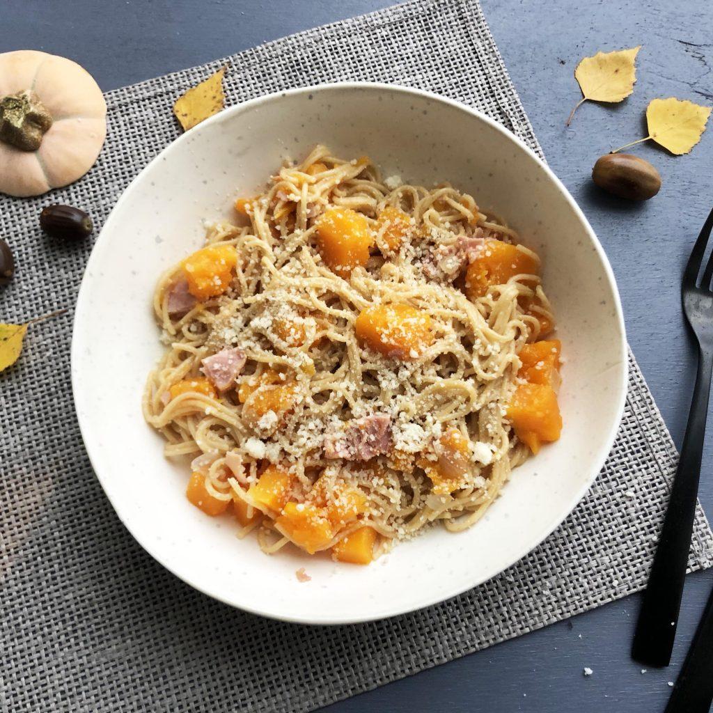 one pot pasta butternut champignon bacon