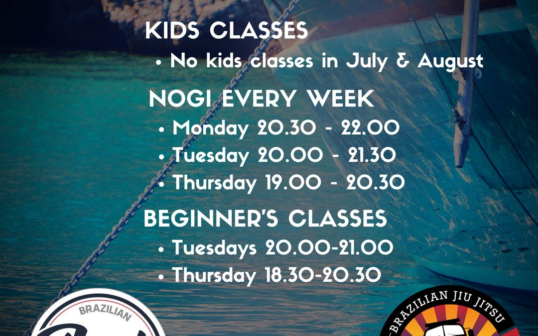 Summer 2017 – Training times, kids classes and only NoGi during the summer