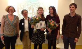 Uitreiking Johanna Naberprijs 2015, vlnr: Gita Deneckere, Mieke Aerst, Laura Nys, Lith Lefranc en Fabian Van Wesemael