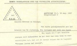 brief 1937 automobilisten vakbond