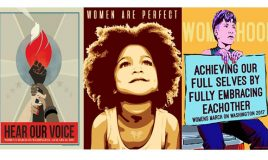 collage van drie posters over Women's March in de Verenigde Staten 2017