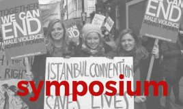 Jonge meiden met spandoeken istanbul convention saves lives en together we can end male violence