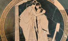 male couple (erastes and eromenos) kissing, ca. 480 BC