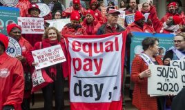 Loonkloof, demonstratie equal pay day in new york