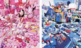 meisje met roze spullen jongen met blauwe spullen