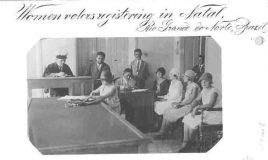 Vrouwenkiesrecht -Women voters registering in Natal, Rio Grande do Norte, Brazil
