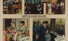 wandplaat voor onderwijs met illustraties over het leven van Aletta Jacobs. Vervaardiger: Helena van der Wusten. Collectie IAV Atria a4432